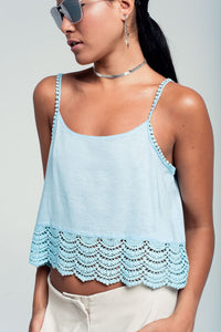 Crop Top With Crochet Detail in Blue - KATANA FASHION BOUTIQUE