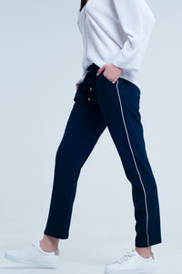 Navy blue Q2 pants with lateral line
