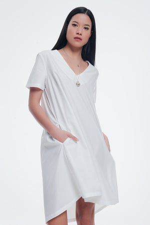 Poplin Cream Shiny Dress With v Neck - KATANA FASHION BOUTIQUE