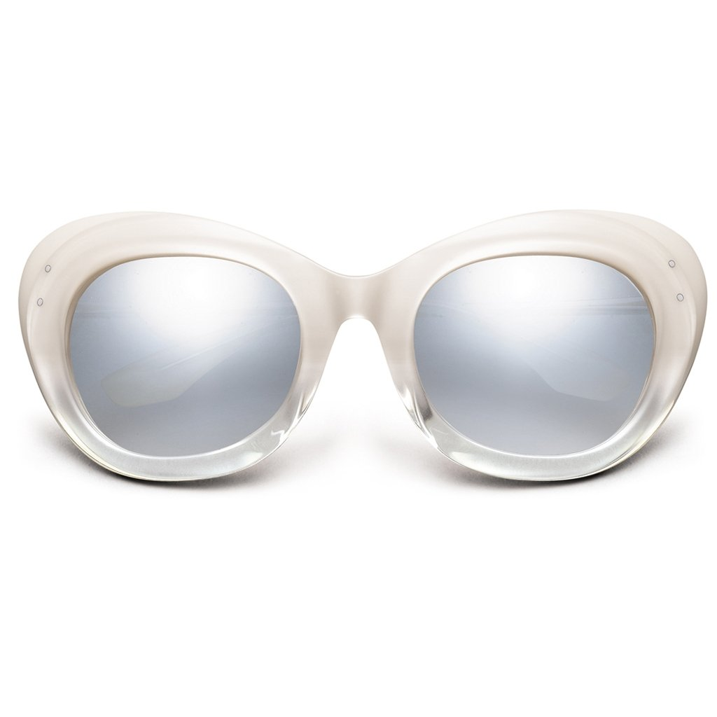 IVI Sunglasses  Faye: Polished Ivory Fade - Chrome / Light Blue Chrome Flash Lens