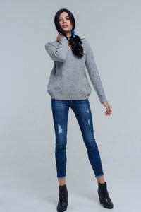 Gray Knitted Sweater With Tie-Back Closure - KATANA FASHION BOUTIQUE