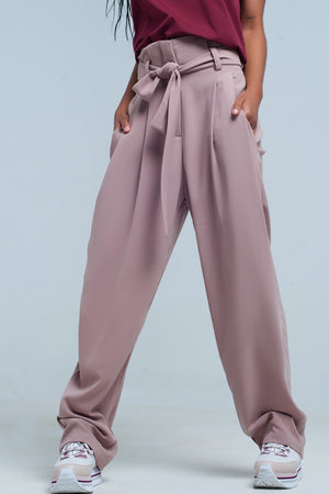 high waist pink pants with bow