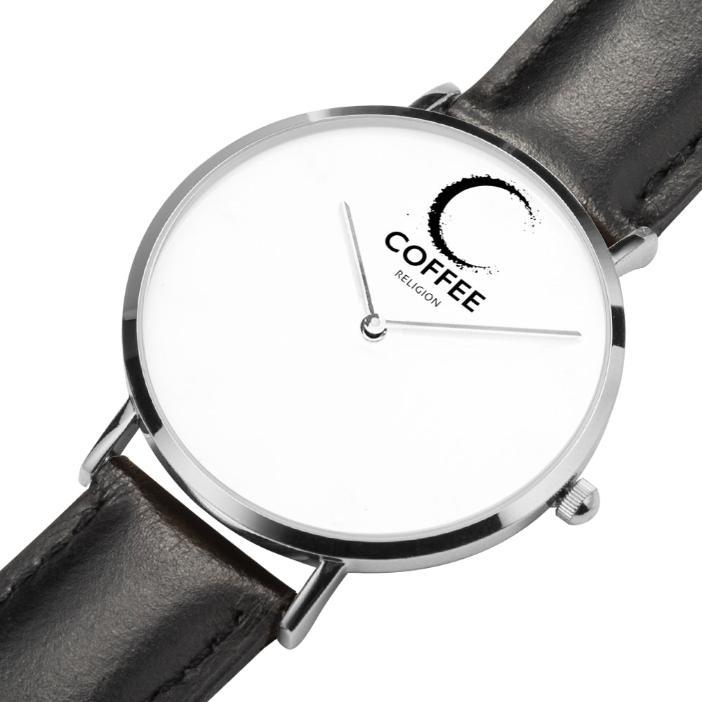 COFFEE RELIGION COFFEE TIME Black/Silver Real Leather Minimalist Watch