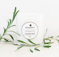 LAVENDER SAGE Soy Candle White Glass 10 oz - KATANA FASHION BOUTIQUE