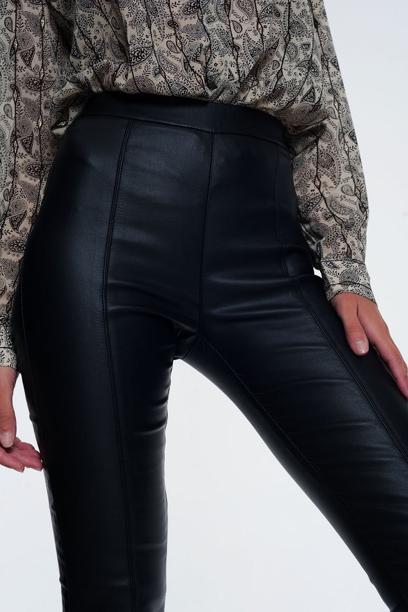 Leather Look Leggings With Elastic Super Skinny - KATANA FASHION BOUTIQUE