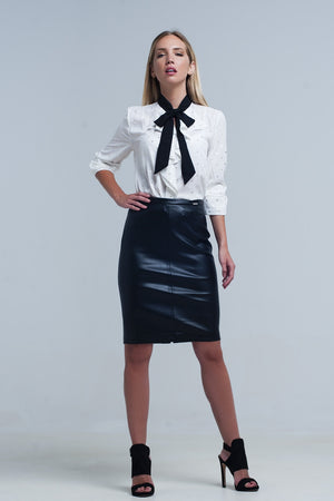 Q2 Cream Ruched Shirt with Black Tie Neck - KATANA FASHION BOUTIQUE