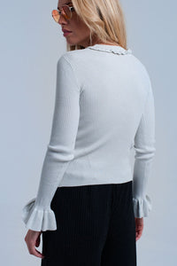 Silver Shiny Sweater With Ruffle - KATANA FASHION BOUTIQUE