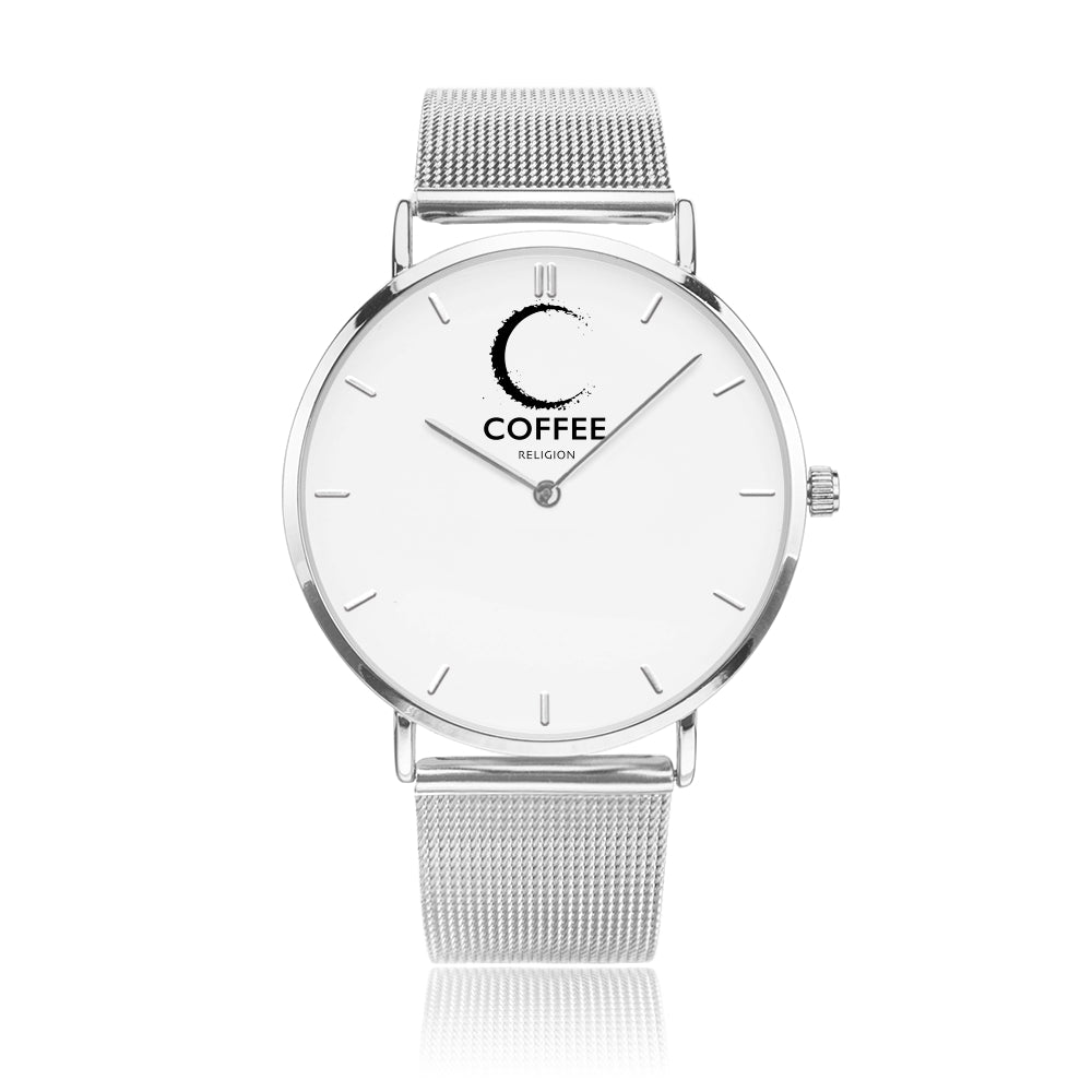 COFFEE RELIGION COFFEE TIME Silver Minimalist Watch - KATANA FASHION BOUTIQUE