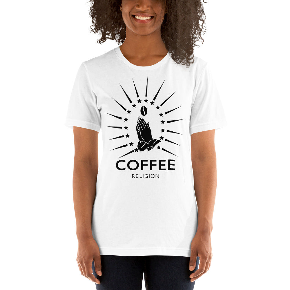 Iconic COFFEE RELIGION Logo Shirt Long Unisex White T-Shirt - KATANA FASHION BOUTIQUE