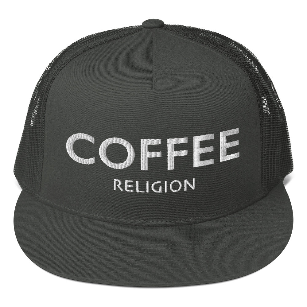 COFFEE RELIGION Mesh Back Snapback Hat Cap