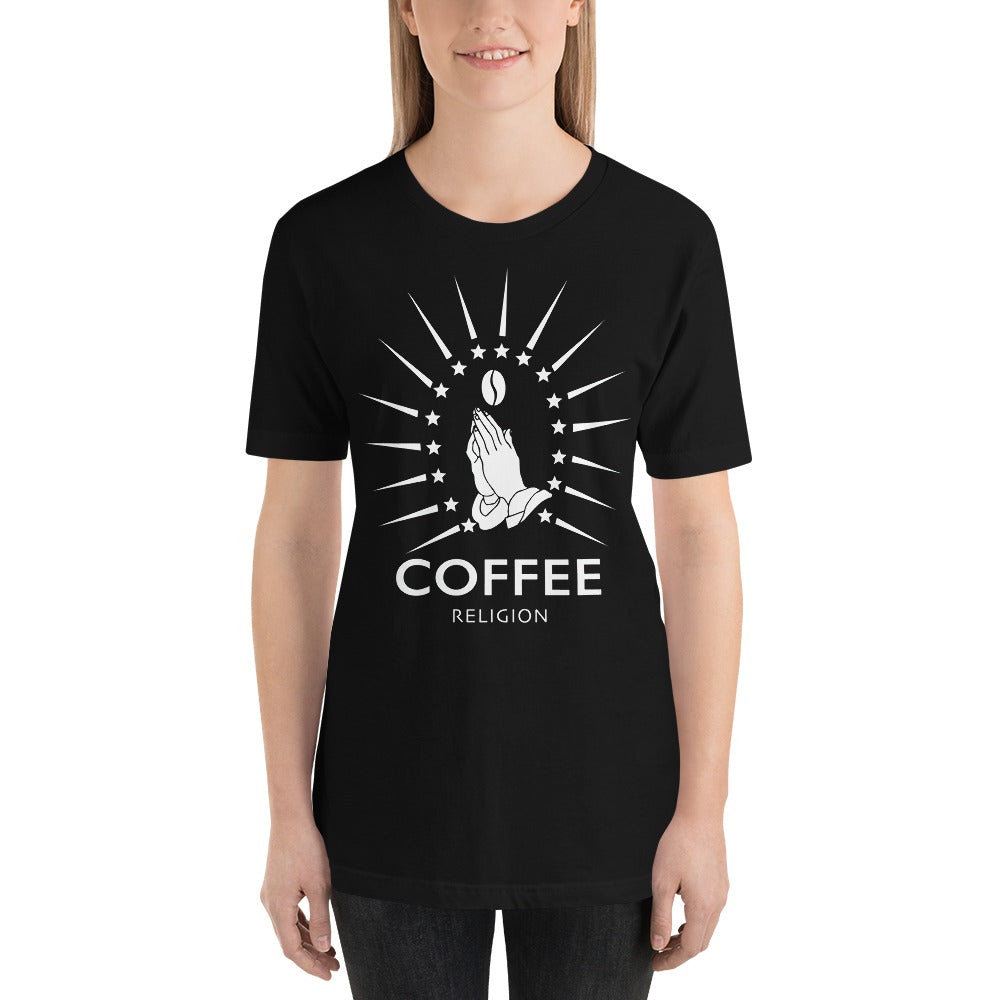 Iconic COFFEE RELIGION Logo Shirt Long Unisex Black T-Shirt - KATANA FASHION BOUTIQUE