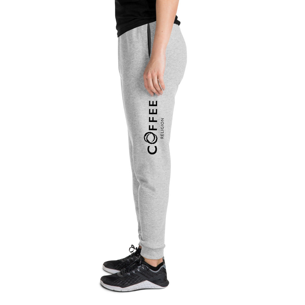 COFFEE RELIGION Embroidered Unisex Yoga Joggers in Dove