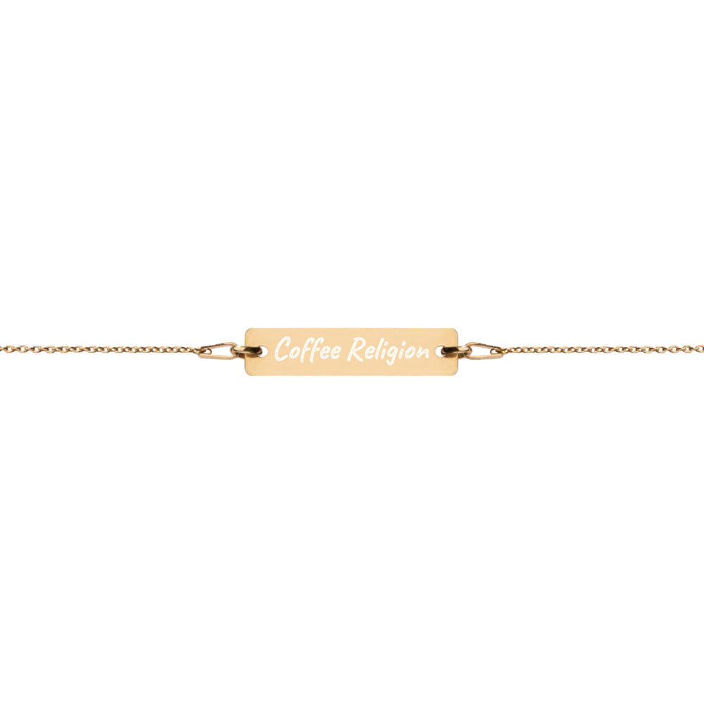 Coffee Religion 24 K Chain Bar gold bracelet - KATANA FASHION BOUTIQUE
