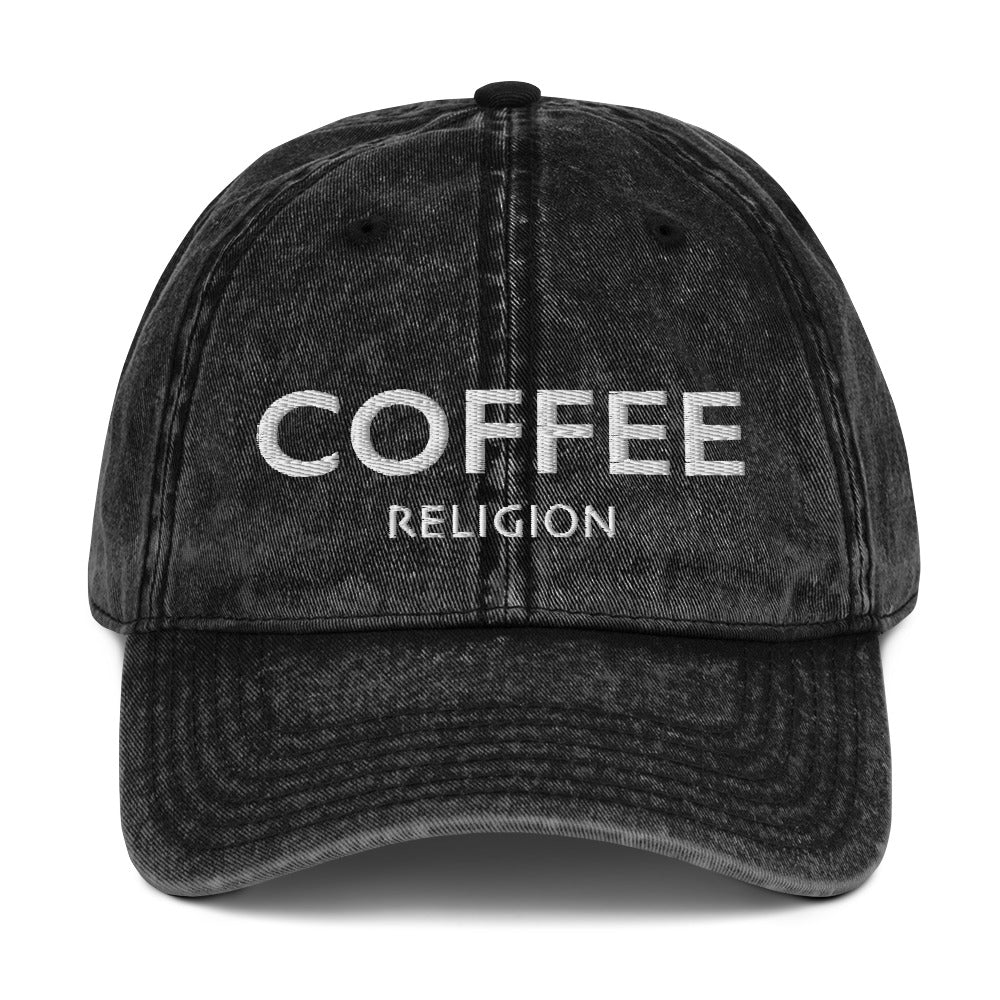 COFFEE RELIGION Vintage Cotton Twill Hat Cap - KATANA FASHION BOUTIQUE