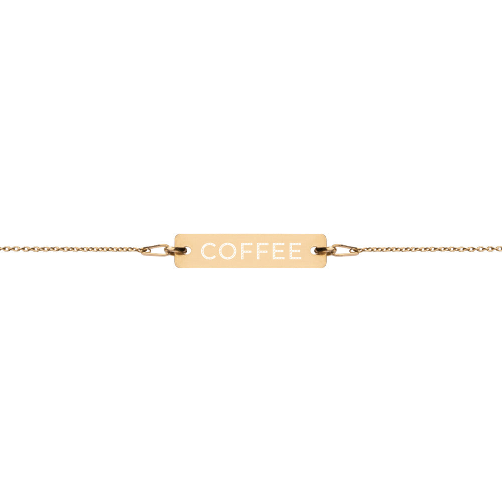 "COFFEE"" ENGRAVED GOLD PLATED BEAR CHAIN BRACELET"