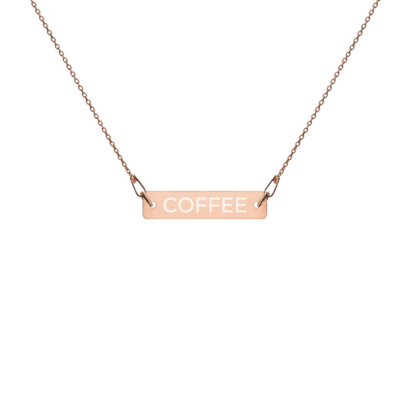 COFFEE by Coffee Religion Rose Gold Bar Necklace