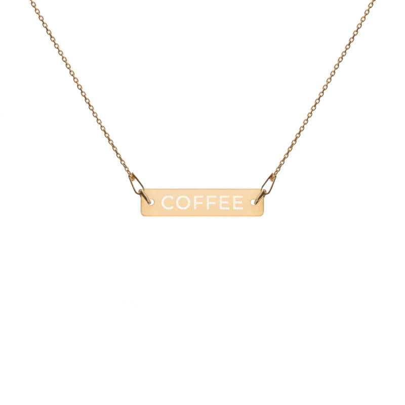 "Coffee Religion by Katana ""COFFEE"" Engraved Gold Bar Necklace"