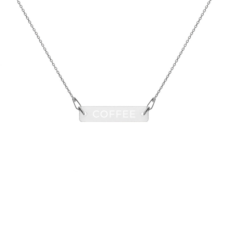 "Coffee Religion by Katana ""COFFEE"" Engraved White Rhodium Chain Necklace"
