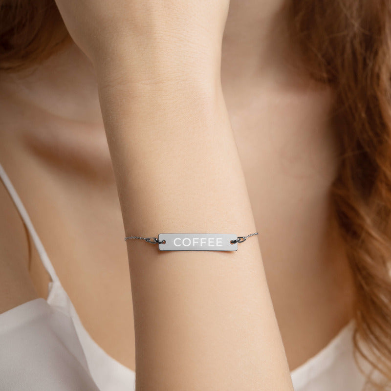 COFFEE Engraved Silver Black Rhodium Bar Chain Bracelet by Katana