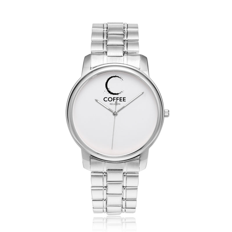 COFFEE RELIGION by Katana brand Silver COFFEE TIME Watch 40mm - KATANA FASHION BOUTIQUE