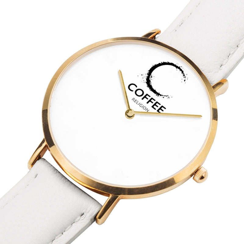 COFFEE RELIGION COFFEE TIME White Gold Leather Starp Watch