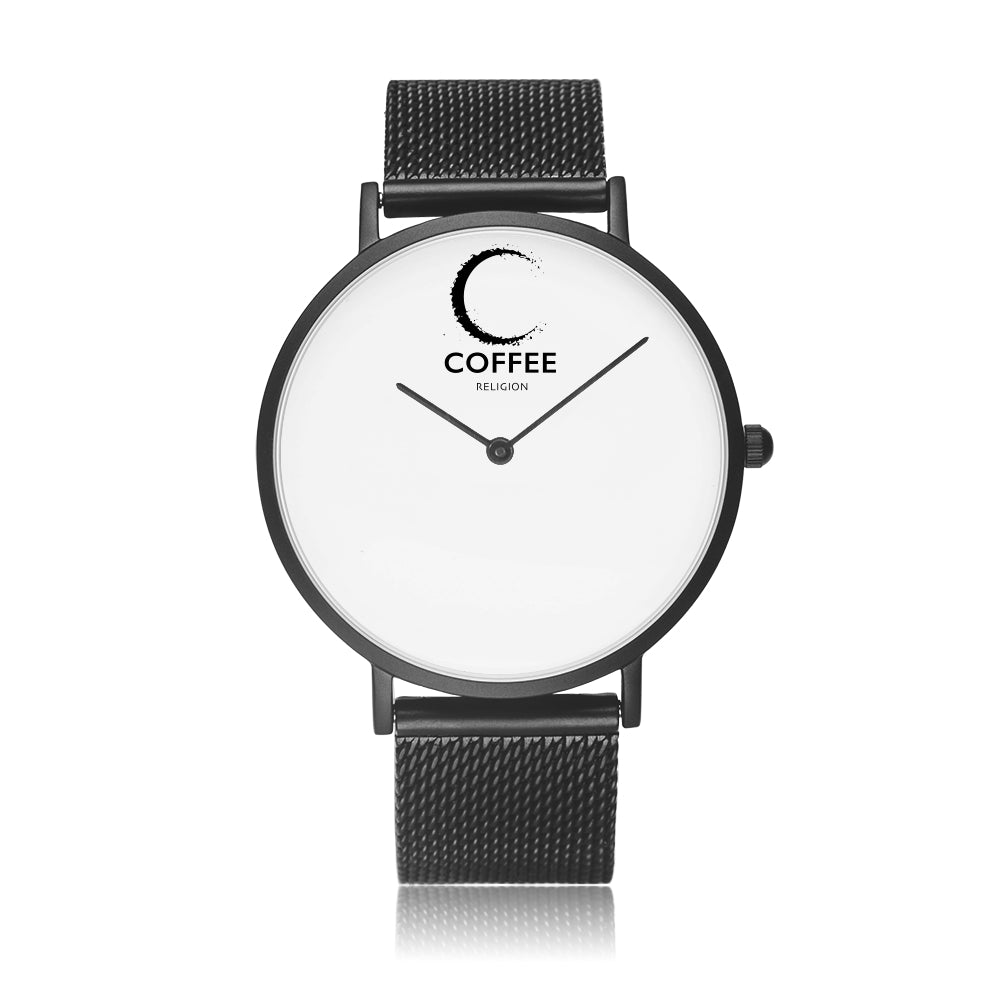 COFFEE RELIGION COFFEE TIME Black Steel Minimalist Watch - KATANA FASHION BOUTIQUE