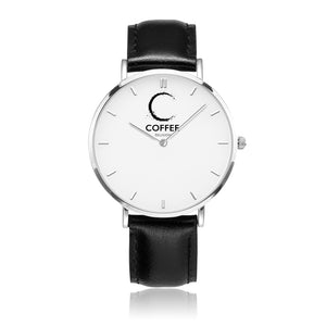 COFFEE RELIGION Brand Watch TIME Black Leather Strap Watch - KATANA FASHION BOUTIQUE