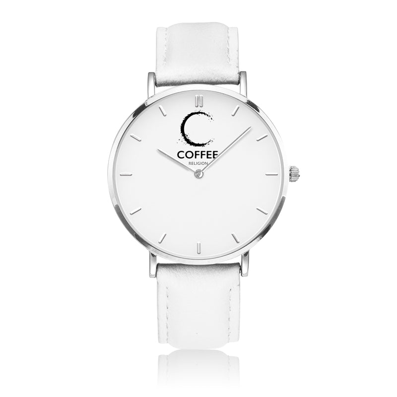 COFFEE RELIGION COFFEE TIME White Silver Minimalist Watch