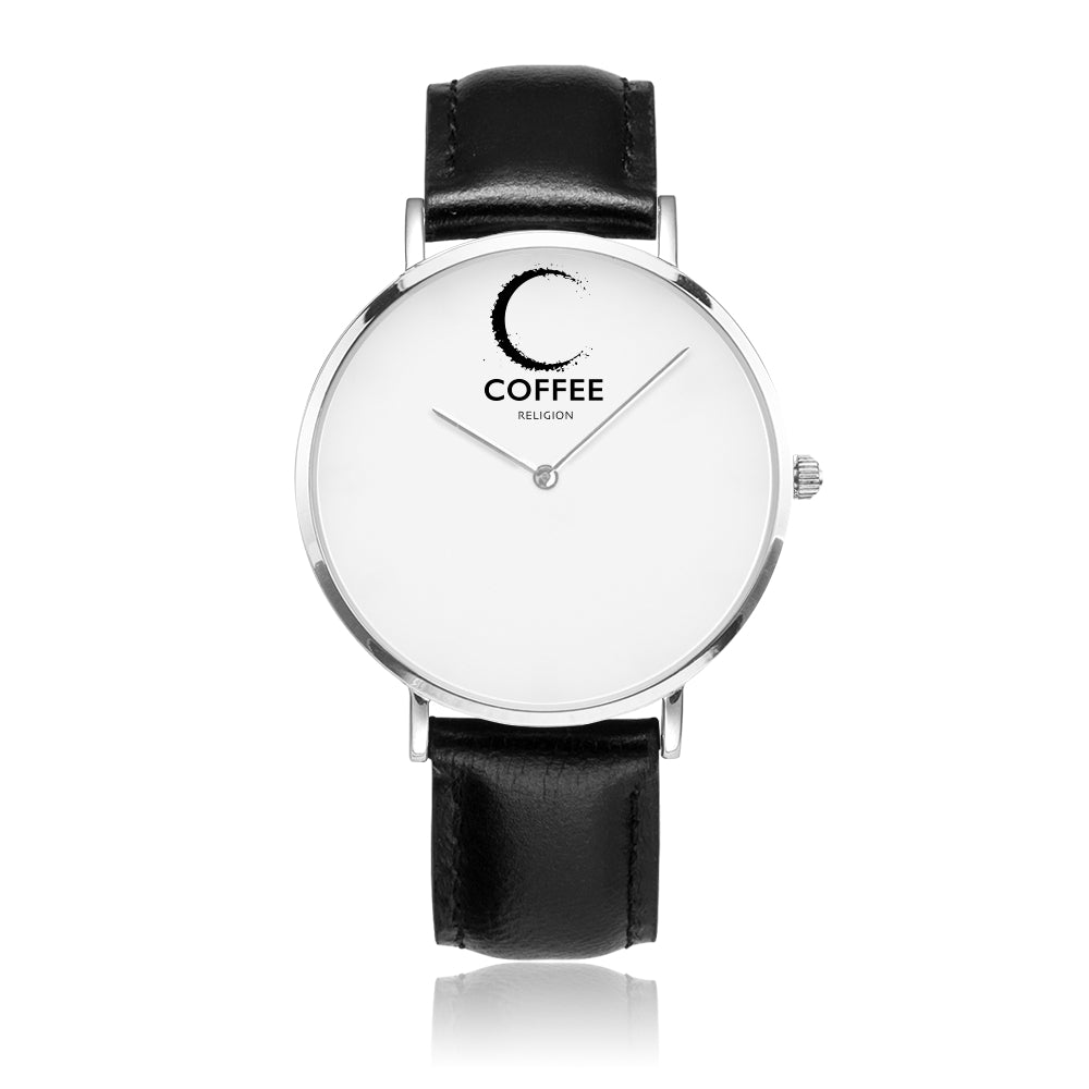 COFFEE RELIGION COFFEE TIME Black/Silver Real Leather Minimalist Watch - KATANA FASHION BOUTIQUE