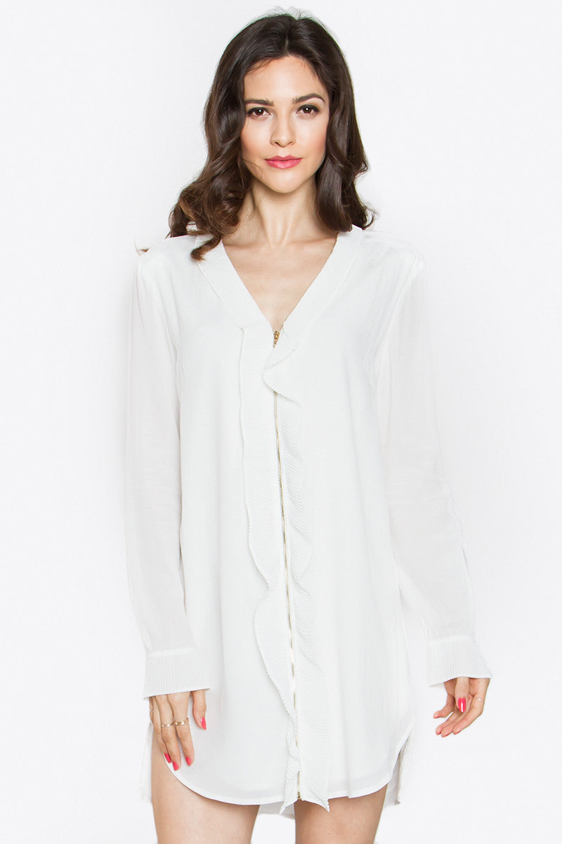 Ruffle Zip Blouse or Mini Shirt Dress