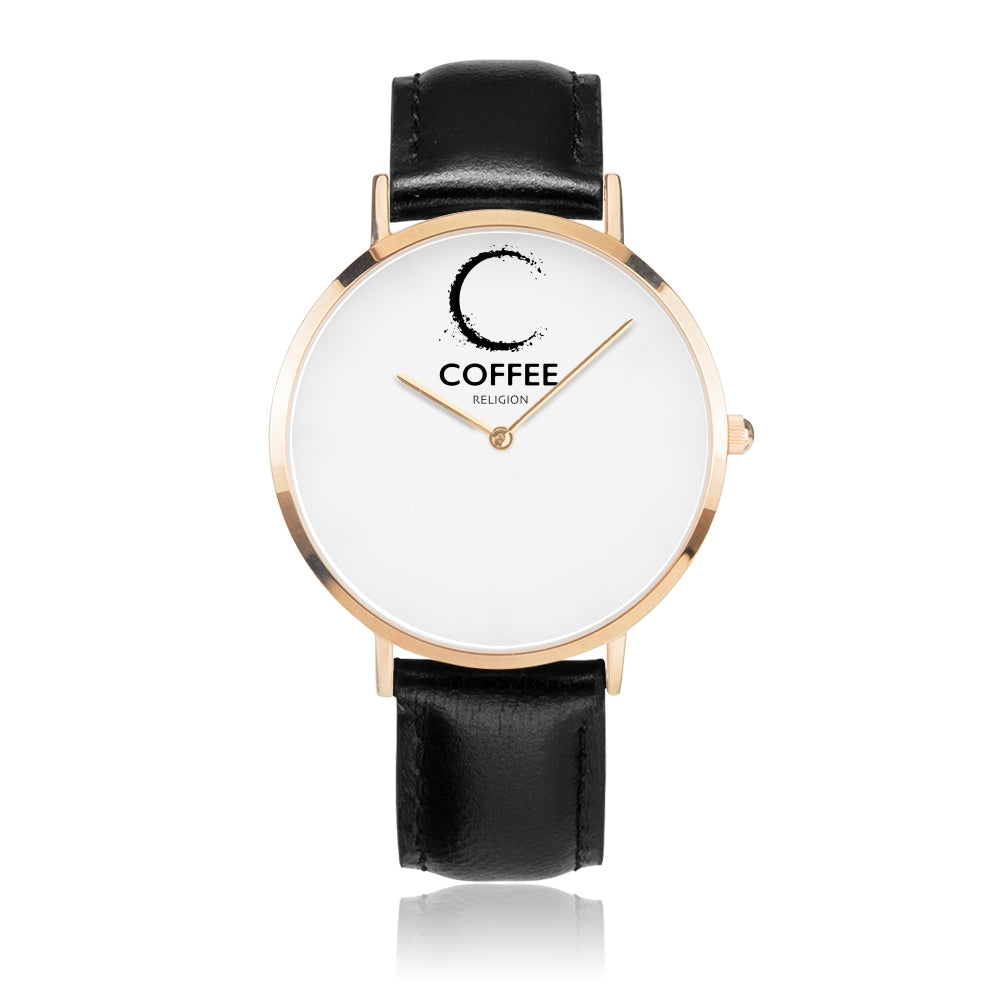 COFFEE RELIGION Brand Watch TIME -  Black Leather Strap - KATANA FASHION BOUTIQUE