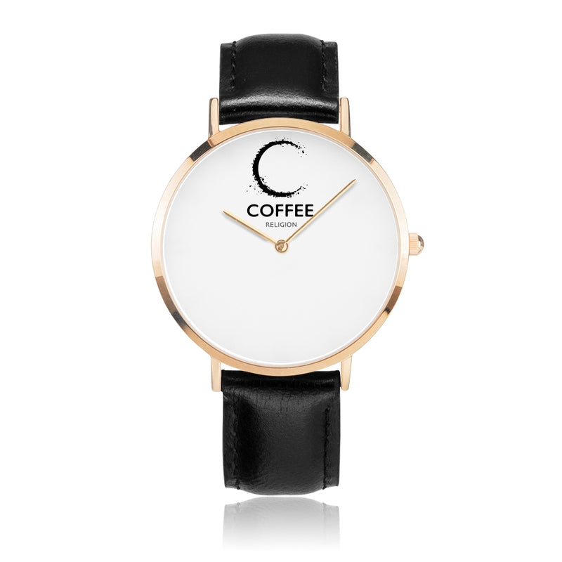 COFFEE RELIGION Brand Watch TIME -  Black Leather Strap