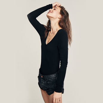 Light In Me Long Sleeve Rib Bodysuit | Black