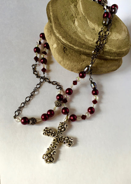 Cross Pendant on burgundy beaded necklace, forgiveness beads, prayer beads