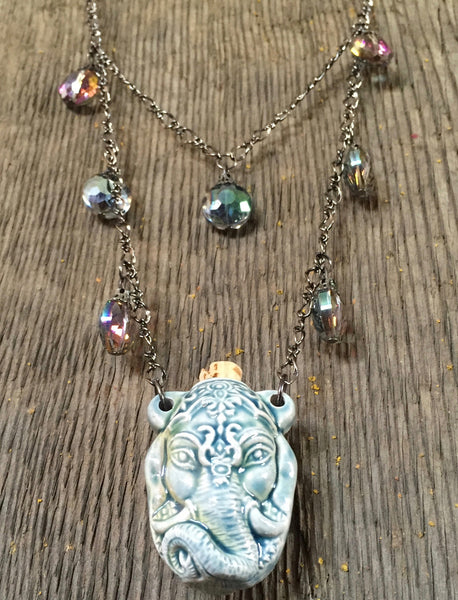 Elephant pendant necklace, bottle necklace, Ganesh Hindu God bottle necklace