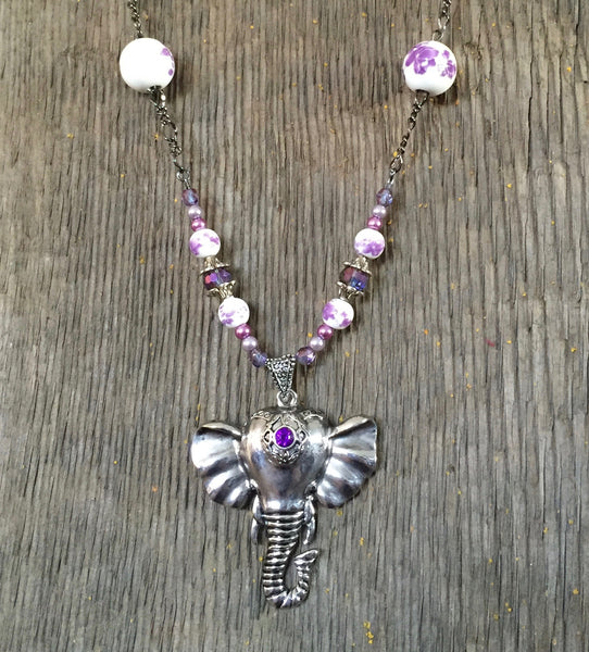 Silver Elephant with purple accent