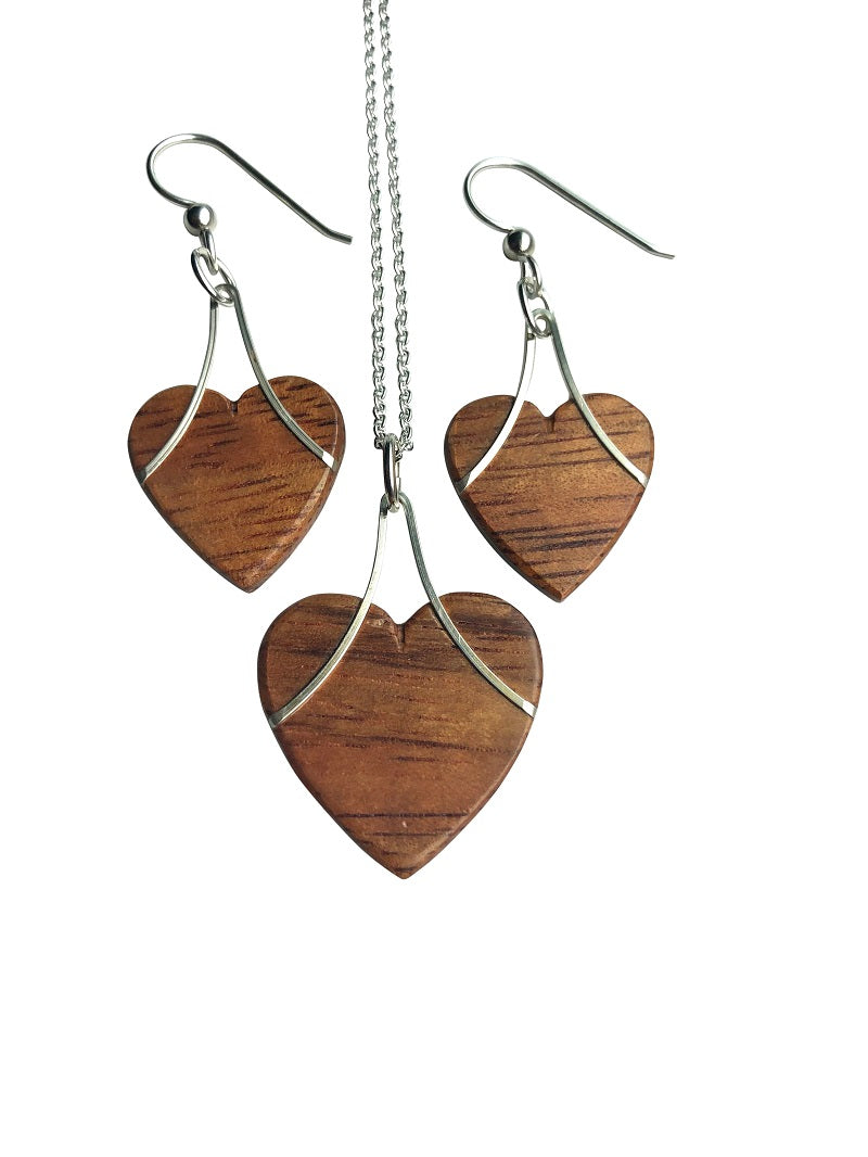 Pendants - Hearts Hawaiian Koa