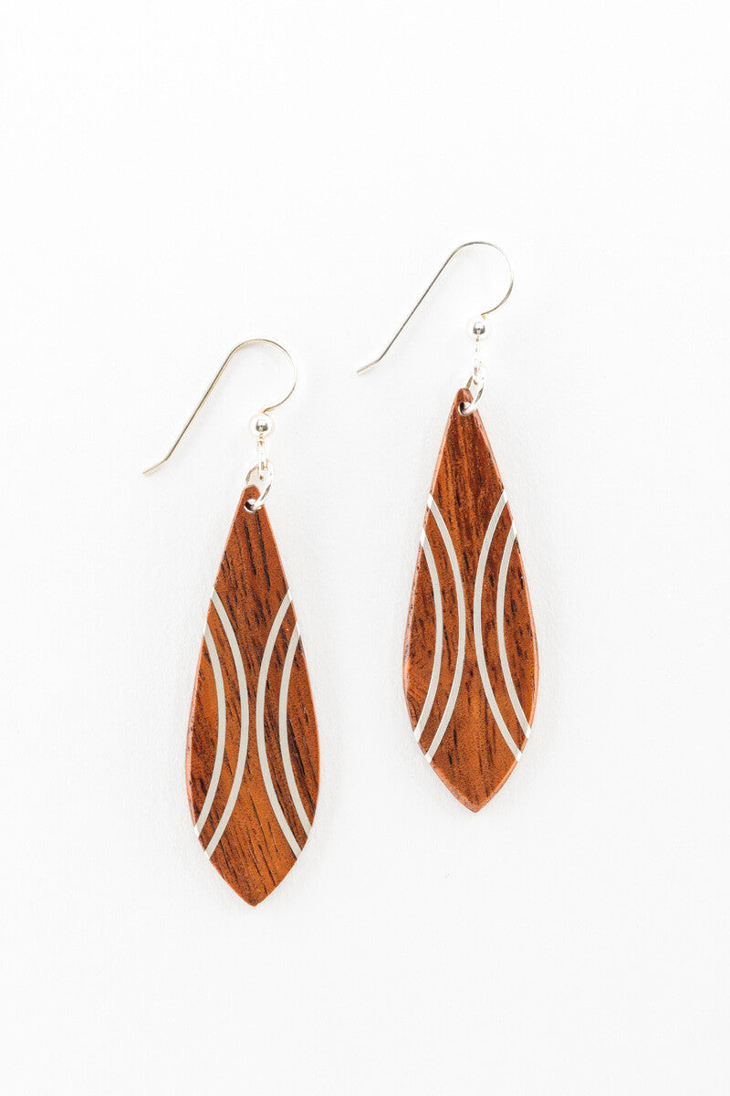 Earrings - Silver Marquis w/ Hawaiian Koa