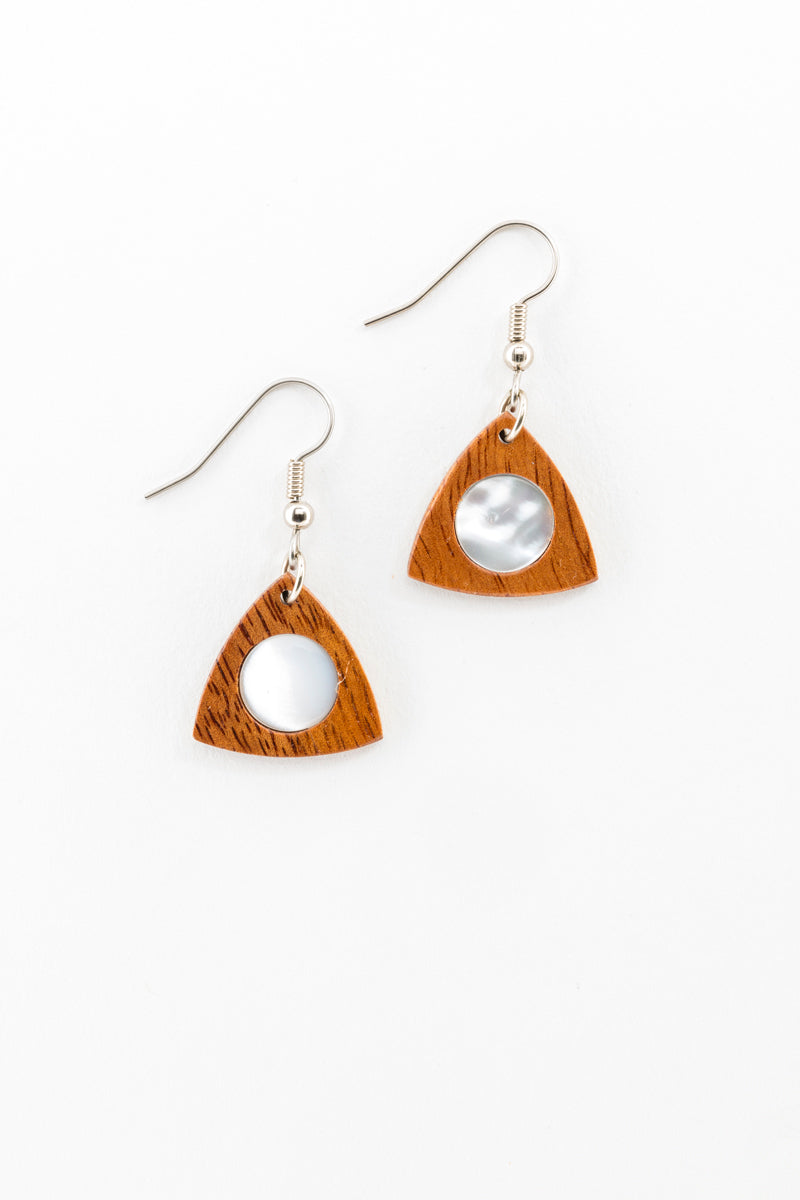 Earrings - Petite Mother of Pearl Fan Hawaiian Koa