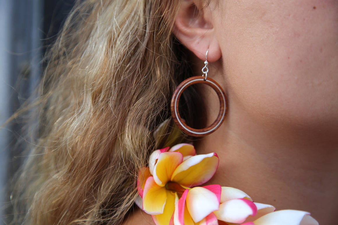 Earrings - Large Hoop with Hawaiian Koa and Silver