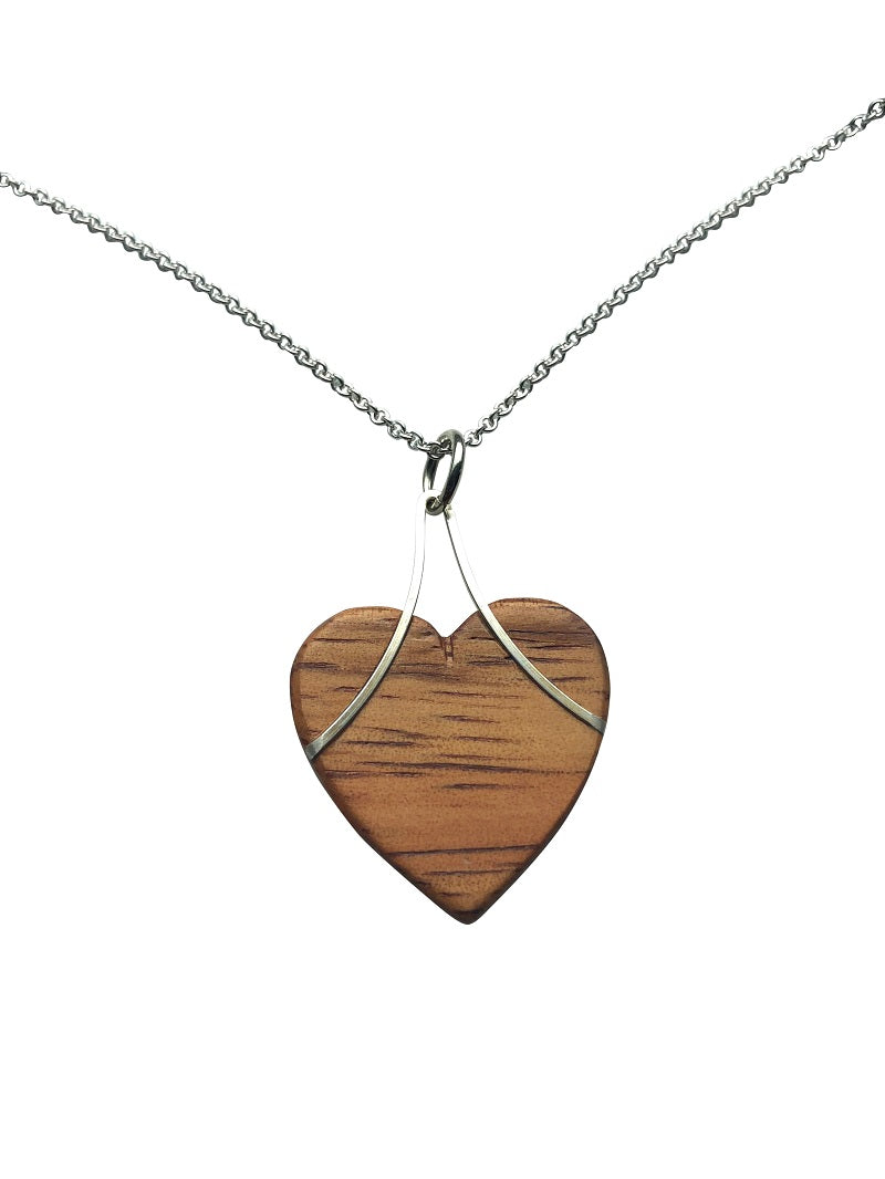 Earring and Pendant Set - Hearts Hawaiian Koa