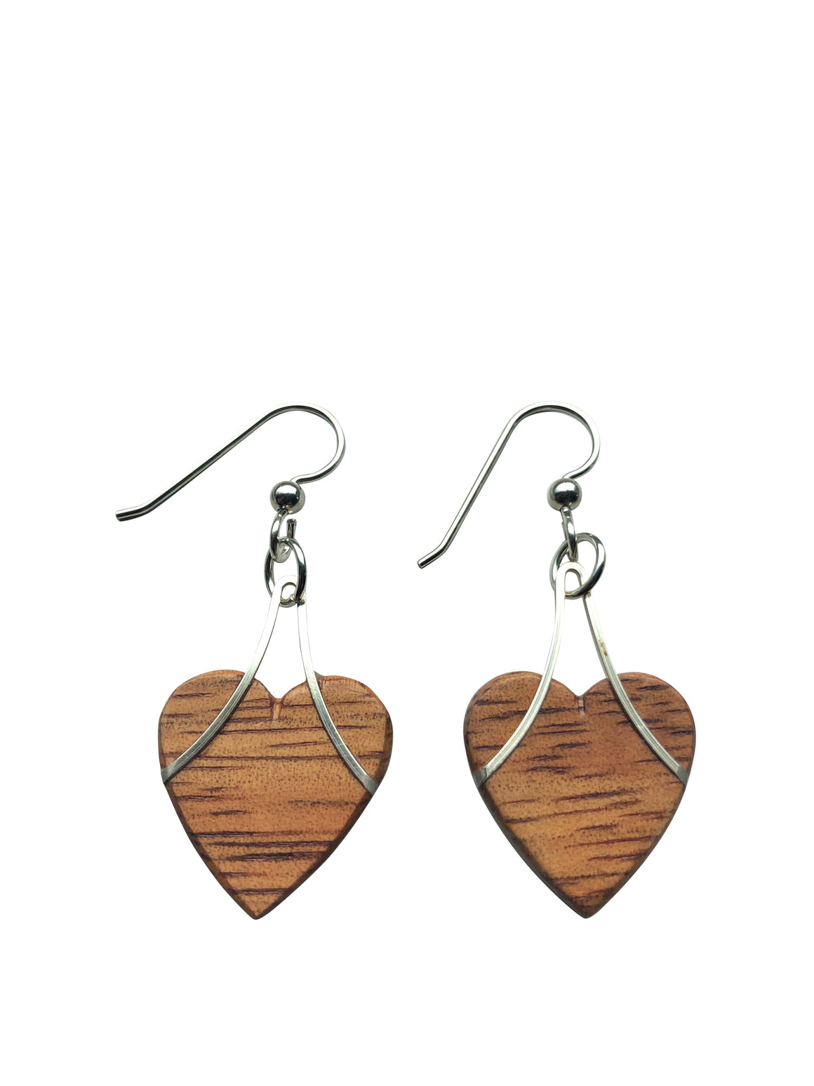 Earrings - Hearts Hawaiian Koa
