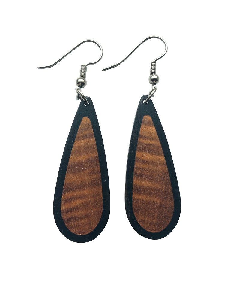 Earrings - Closed Loops Hawaiian Koa
