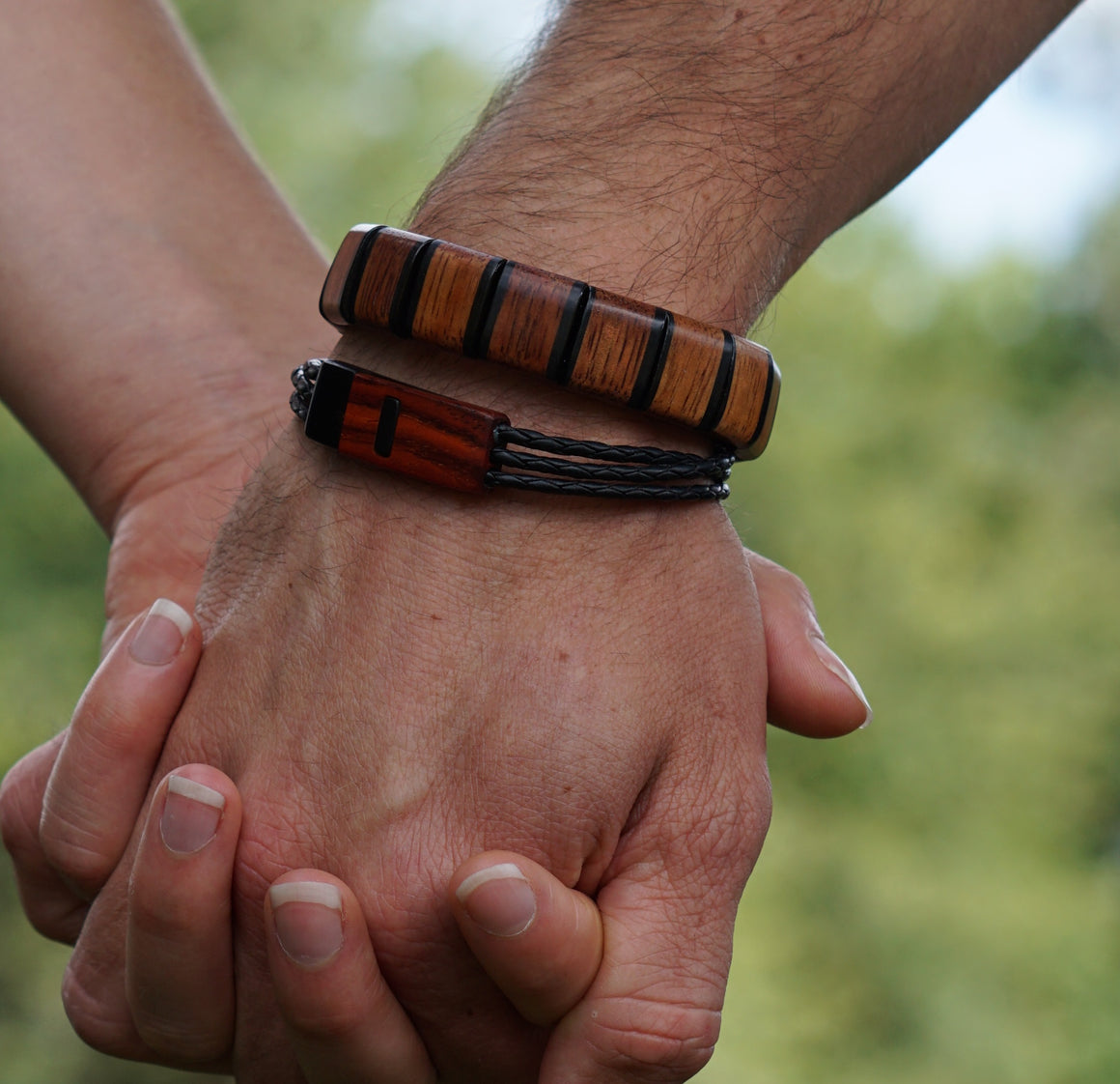 Bracelet - Tile Hawaiian Koa with Ebony trim
