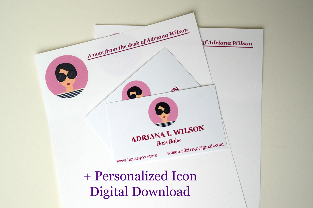 Personalized Stationery, 100 Business Cards, and Digital Icon