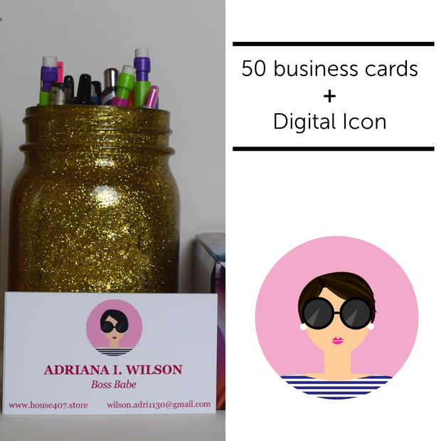 50 Personalized Business Cards + Digital Icon