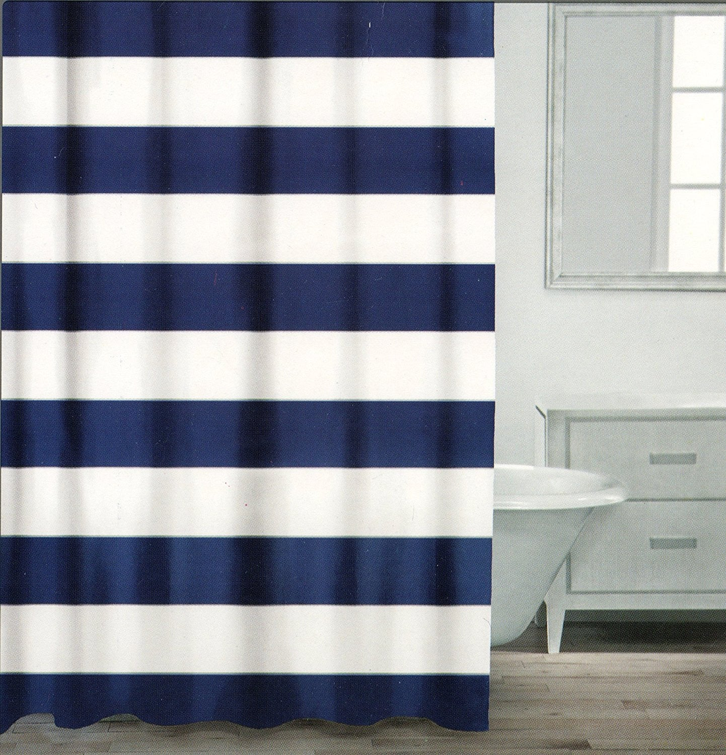 Caro Home 100 Cotton Shower Curtain Wide Stripes Fabric White Navy Silver