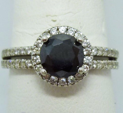Ring 2.9g 10K white gold   0.80ct Enhanced Black Diamond  0.20cttw melee