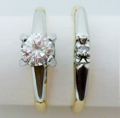 Vintage wedding set 4.34g 14K yellow gold 0.40ct VS1 G