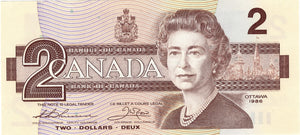 1986 $2 Note Bank of Canada